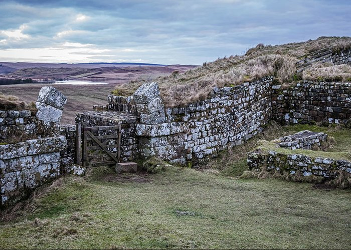 Roman Wall Greeting Card featuring the photograph Milecastle 37 by David Pringle