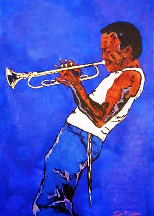 Miles Davis Paintings Greeting Card featuring the painting Miles Davis-miles And Miles Away by Bill Manson