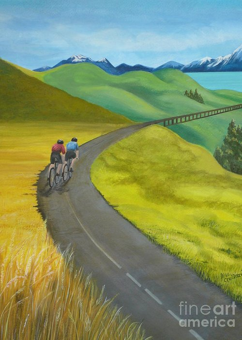 Bicycles Greeting Card featuring the painting Miles To Go by Kris Crollard