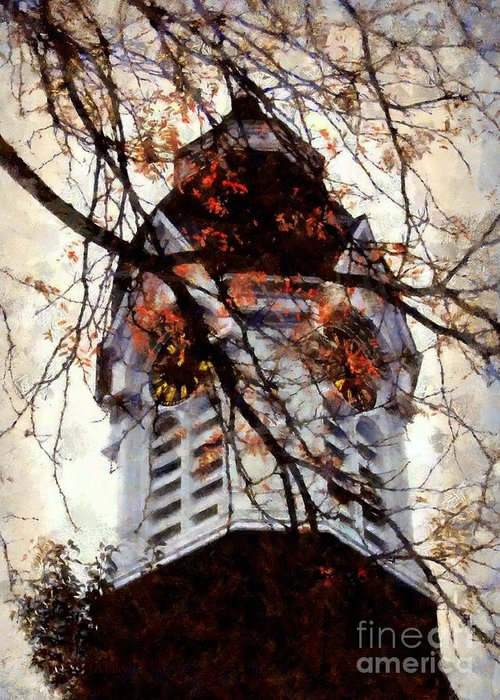 Clock Tower Greeting Card featuring the photograph Milford Clock Tower Vintage by Janine Riley