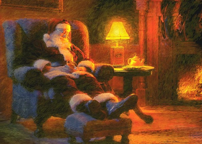 Santa Claus Greeting Card featuring the painting Milk And Cookiezzzzz by Greg Olsen