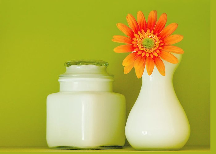 Jar Greeting Card featuring the photograph Milk Glass by Linda McRae