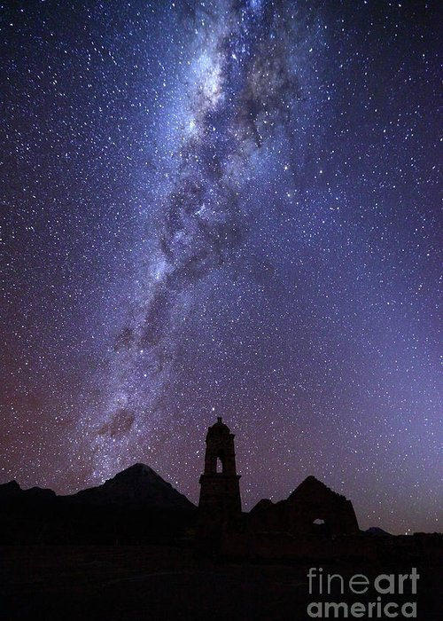 Milky Way Greeting Card featuring the photograph Milky Way Above Ruined Church Tower by James Brunker