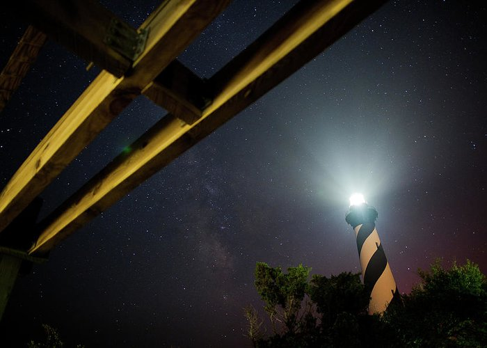 Hatteras Greeting Card featuring the photograph Milky Way Inside Hatteras Light Pavillon by Daniel Lowe