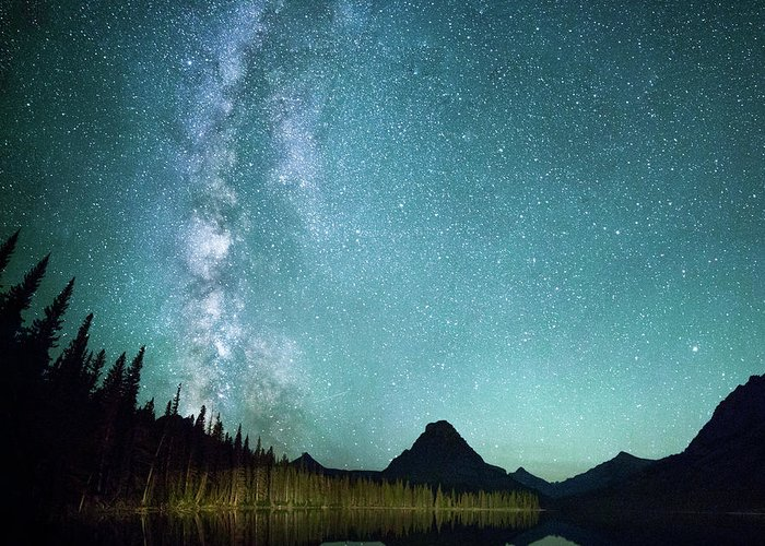 Tree Greeting Card featuring the photograph Milky Way // Two Medicine Lake, Glacier National Park by Nicholas Parker