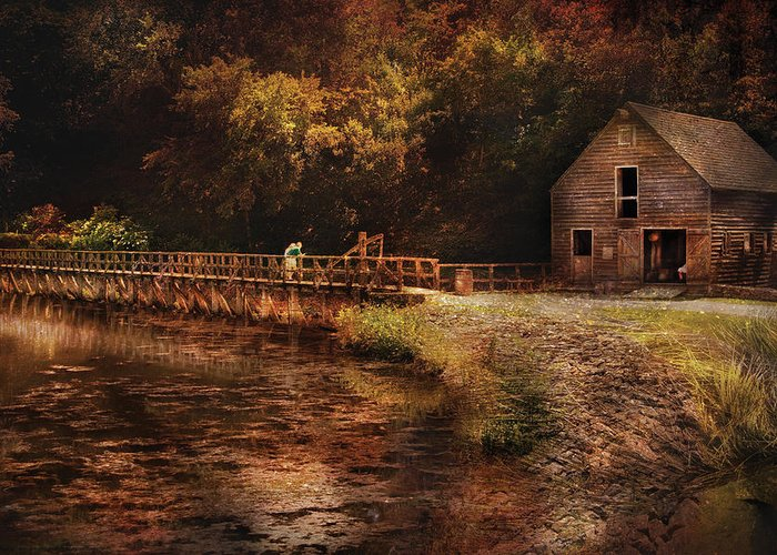 Savad Greeting Card featuring the photograph Mill - The Village Edge by Mike Savad