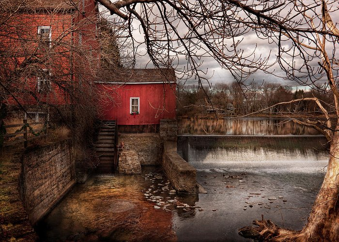 Savad Greeting Card featuring the photograph Mill - Clinton Nj - The Mill And Wheel by Mike Savad