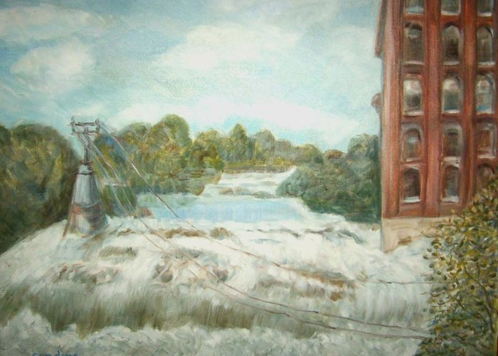 Landscape Greeting Card featuring the painting Mill Dam by Joseph Sandora Jr