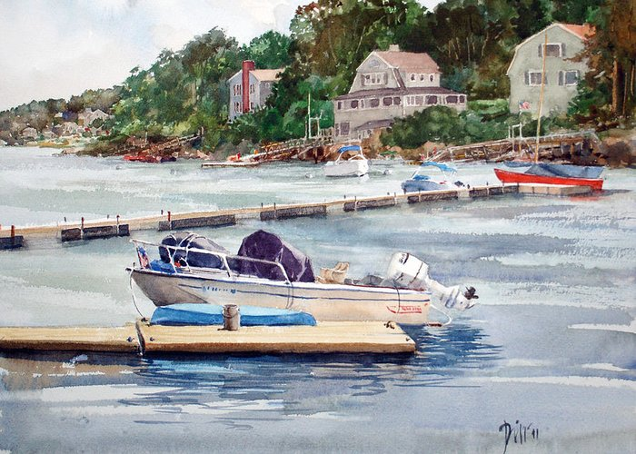 Peter Sit Watercolor Greeting Card featuring the painting Mill River Gloucester by Peter Sit