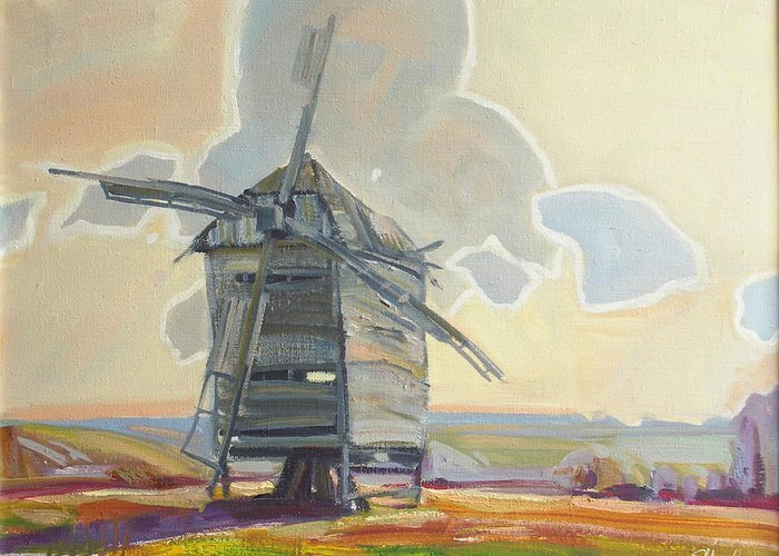 Oil Greeting Card featuring the painting Mill by Sergey Ignatenko