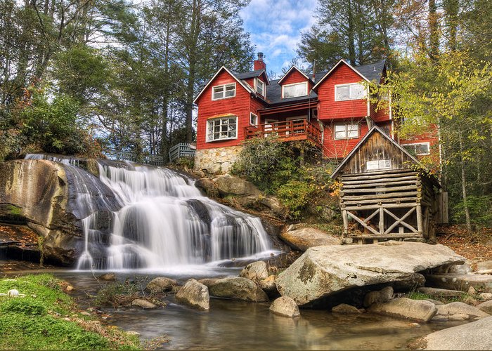Waterfalls Greeting Card featuring the photograph Mill Shoals Falls - Wnc Blue Ridge Waterfalls by Dave Allen