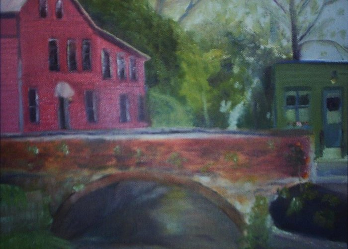Mill Street Greeting Card featuring the painting Mill Street Plein Aire by Sheila Mashaw
