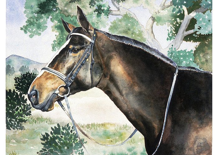 Portrait Greeting Card featuring the painting Millie by Eileen Hale