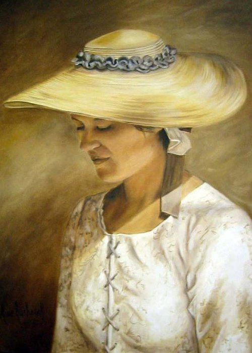 Portrait Greeting Card featuring the painting Milliners Daughter by Anne Kushnick