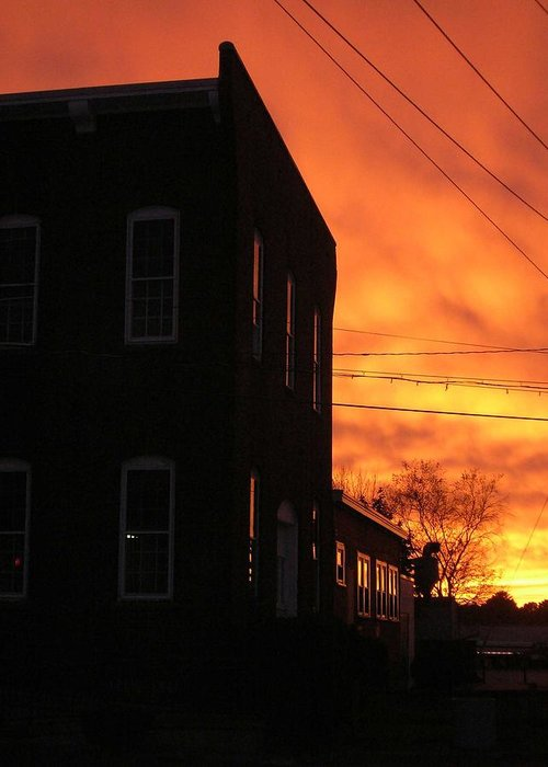 Orange Sky Greeting Card featuring the photograph Millyard Sunset by Nancy Ferrier
