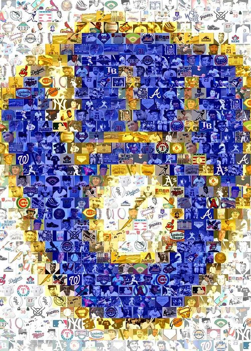 Milwaukee Brewers Greeting Card featuring the drawing Milwaukee Brewers Mosaic by Paul Van Scott