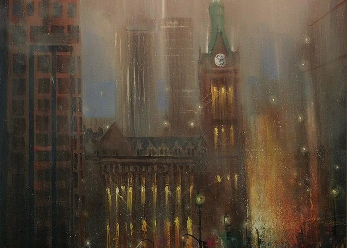 City At Night Greeting Card featuring the painting Milwaukee Rain by Tom Shropshire