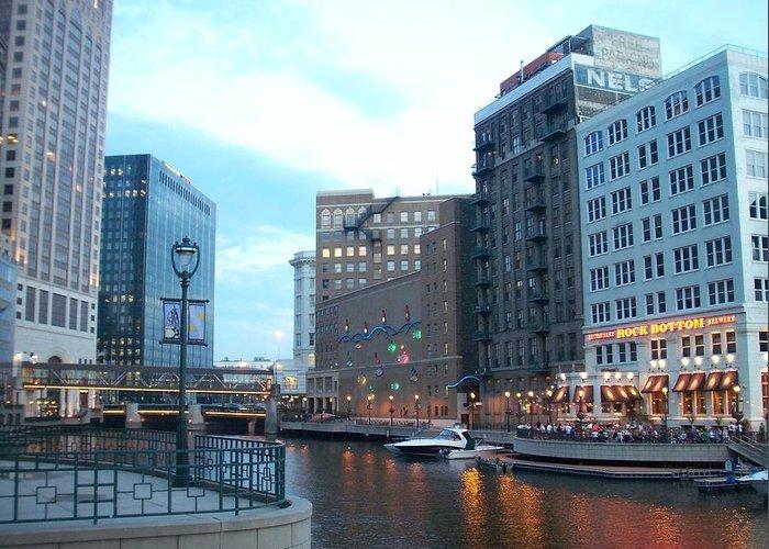 Milwaukee Greeting Card featuring the photograph Milwaukee River Walk by Anita Burgermeister
