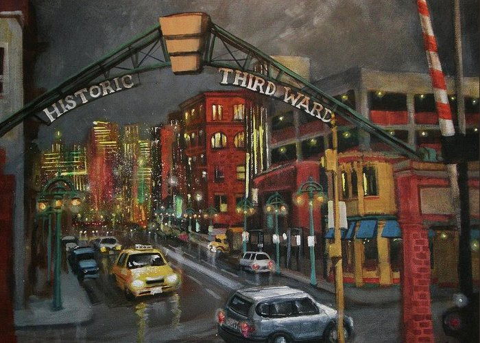 City At Night Greeting Card featuring the painting Milwaukee's Historic Third Ward by Tom Shropshire