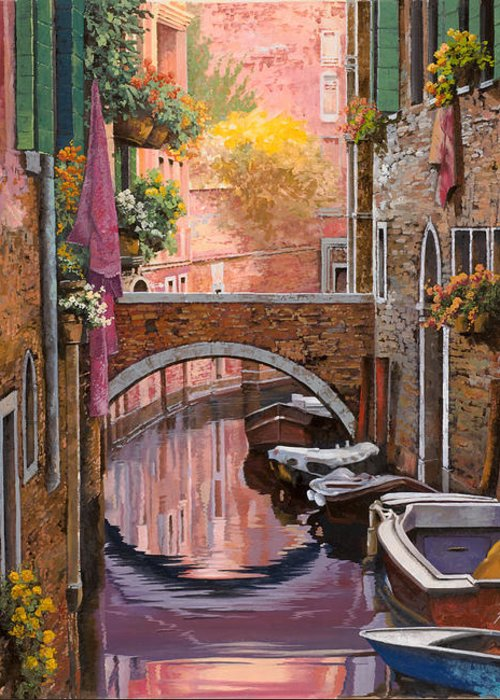 Venice Greeting Card featuring the painting Mimosa Sui Canali by Guido Borelli
