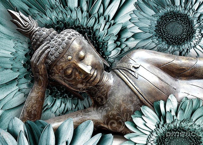 Buddha Greeting Card featuring the mixed media Mind Bloom by Christopher Beikmann