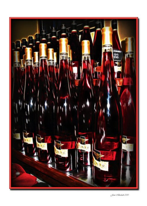 Miner Greeting Card featuring the photograph Miner Pink Sparkling Wine by Joan Minchak