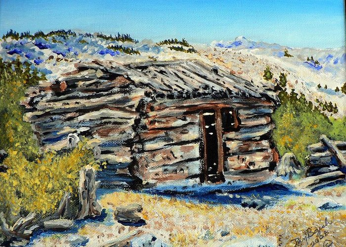 Mining Greeting Card featuring the painting Miner's Cabin by Dan Bozich