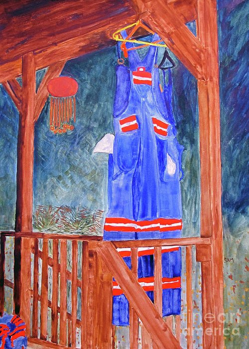Miner Greeting Card featuring the painting Miner's Overalls by Sandy McIntire