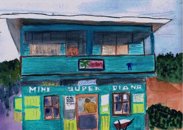 Market Greeting Card featuring the painting Mini Super Diana by Donna Walsh