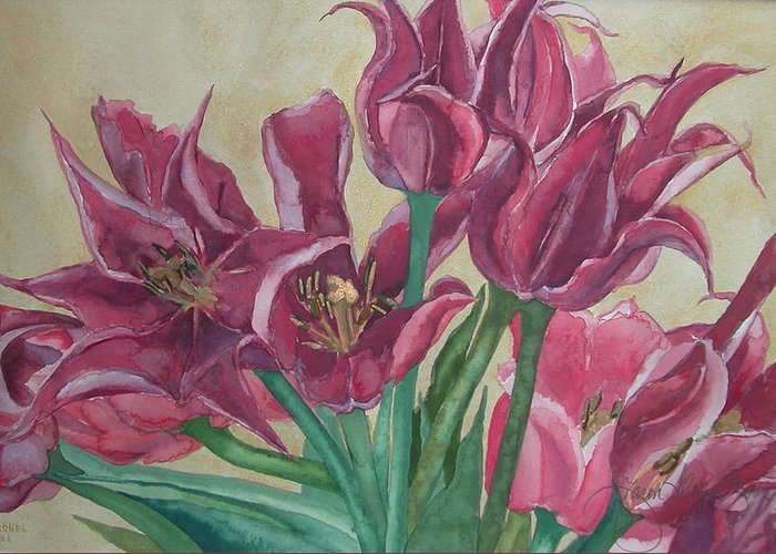 Watercolor Greeting Card featuring the painting Mini-tulip Bouquet - 8 by Caron Sloan Zuger
