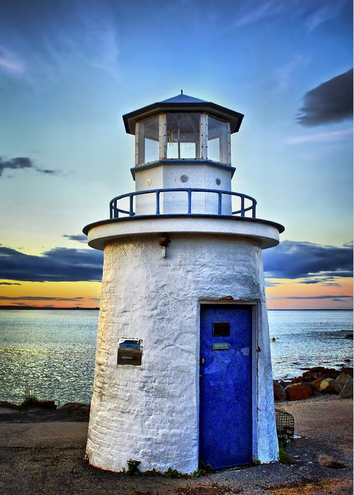 Lighthouse Greeting Card featuring the photograph Miniature Lighthouse by Evelina Kremsdorf
