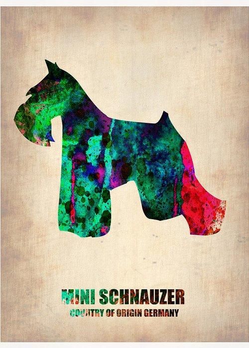 Miniature Schnauzer Greeting Card featuring the painting Miniature Schnauzer Poster 2 by Naxart Studio