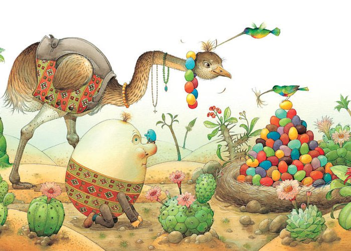 Eggs Easter Birds Greeting Card featuring the painting Minieggs And Maxiegg by Kestutis Kasparavicius
