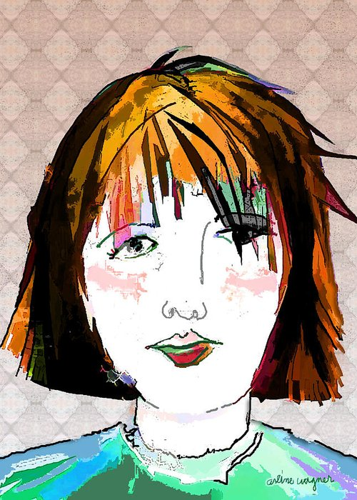 Woman Greeting Card featuring the digital art Minimal Makeup by Arline Wagner