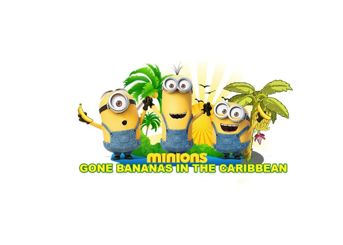 Minions Greeting Card featuring the digital art Minions In The Caribbean by Seasplash