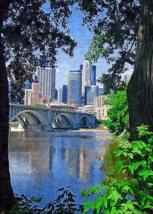 Minneapolis Greeting Card featuring the photograph Minneapolis Through The Trees by Tom Reynen