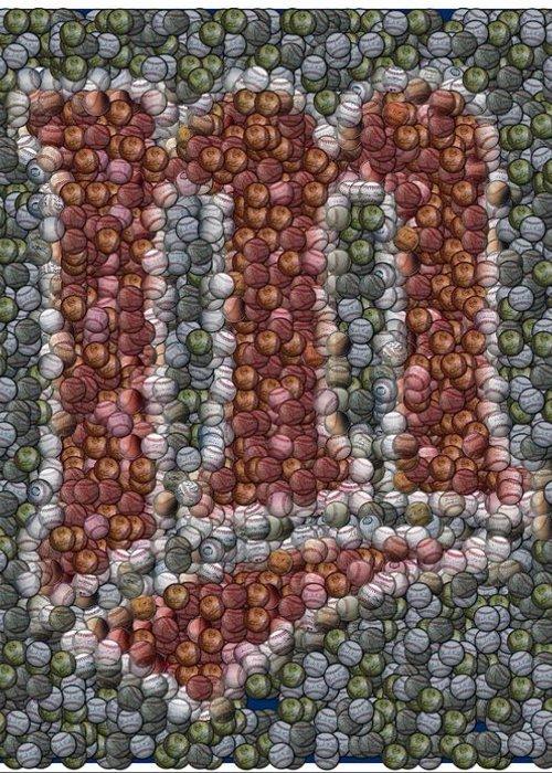 Minnesota Twins Greeting Card featuring the mixed media Minnesota Twins Baseball Mosaic by Paul Van Scott