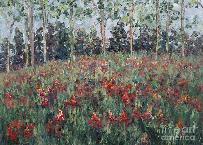 Landscape Greeting Card featuring the painting Minnesota Wildflowers by Nadine Rippelmeyer