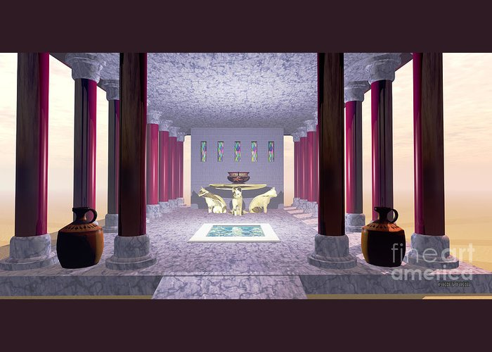 Minoan Greeting Card featuring the painting Minoan Temple by Corey Ford