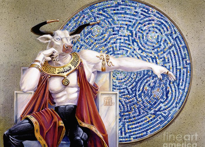 Anthropomorphic Greeting Card featuring the painting Minotaur With Mosaic by Melissa A Benson