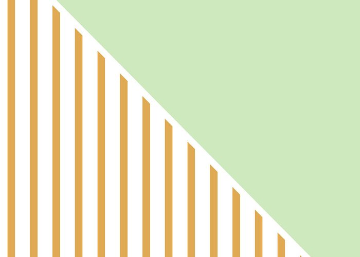 Mint Greeting Card featuring the digital art Mint And Gold Geometric by Linda Woods