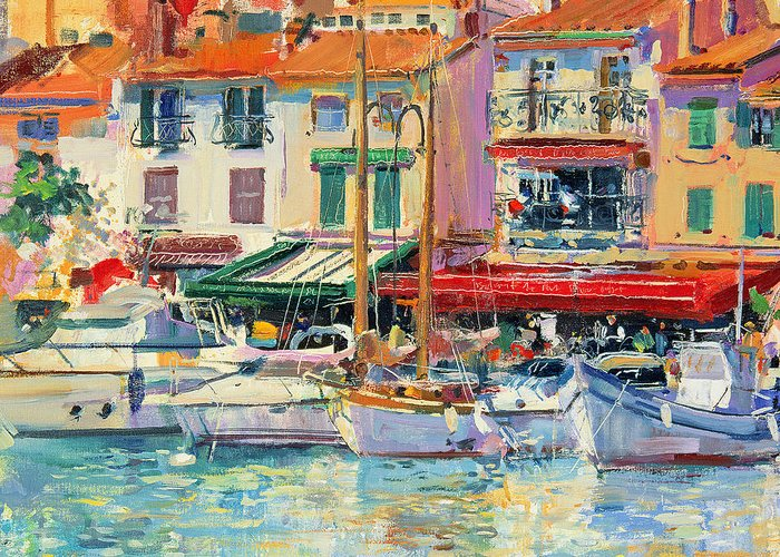 Pier Greeting Card featuring the painting Mirabeau by Peter Graham