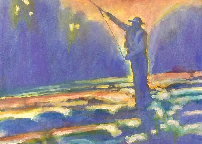 Fishing Greeting Card featuring the painting Miracle Moment by Kip Decker