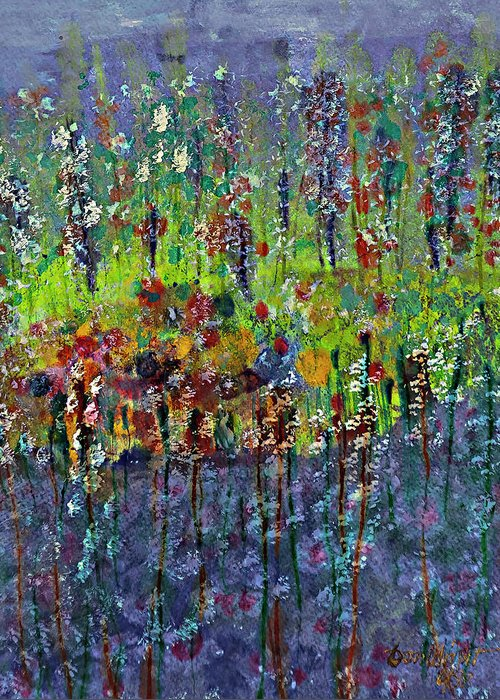 Acrylic Painting Of Long Stem Reflection Of Flowers On Blue Water Greeting Card featuring the painting Mirage Painting by Don Wright