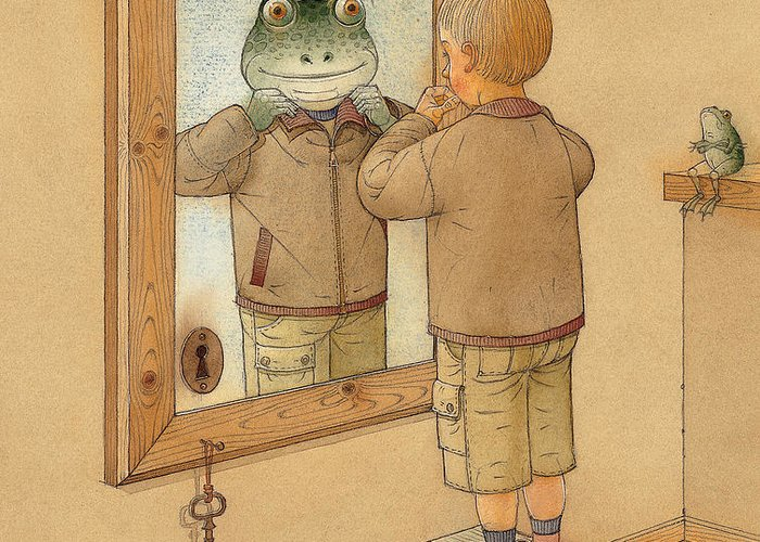 Mirror Room Flat Boy Frog Brown Greeting Card featuring the painting Mirror by Kestutis Kasparavicius