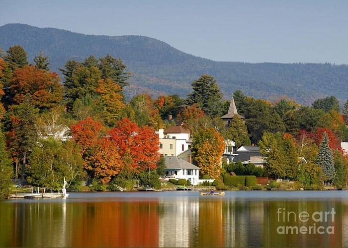 Adirondack Mountains Greeting Card featuring the photograph Mirror Lake by David Lee Thompson