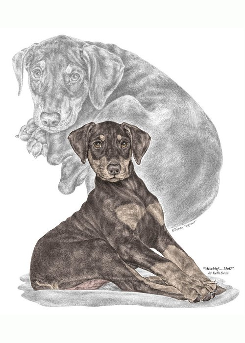Red Doberman Greeting Card featuring the drawing Mischief ... Moi? - Doberman Pinscher Puppy - Color Tinted by Kelli Swan