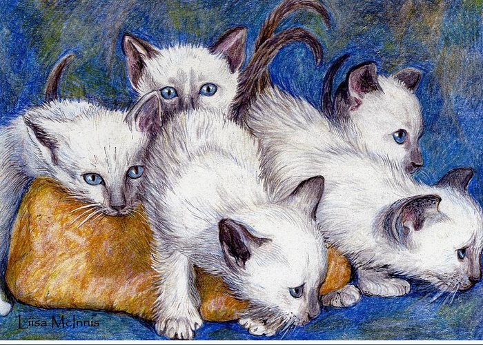 Cats Greeting Card featuring the drawing Mischief Makers by Liisa McInnis