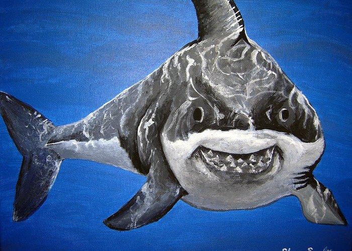 Shark Greeting Card featuring the painting Mischief by Sharon Supplee