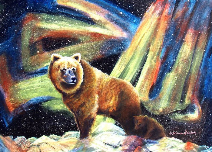 Alaska Greeting Card featuring the painting Mischief's Mother by Dianne Roberson